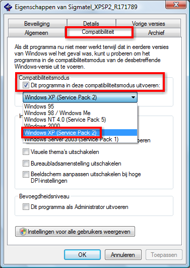 Change the compatibility mode for the drivers