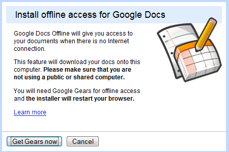how to take google docs offline