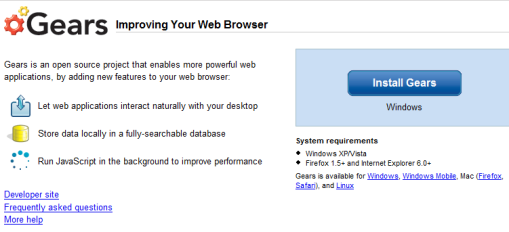 Google Gears installeren is de eerste stap