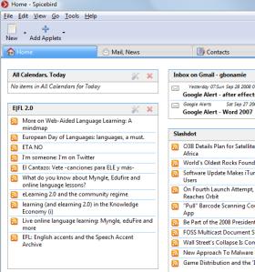 De hometab met RSS- & e-mailapplets