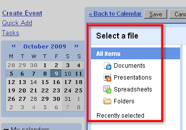 ... en je google docs kun je toevoegen aan je kalender!