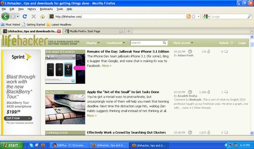 Een standaard Firefox op een gewone netbook