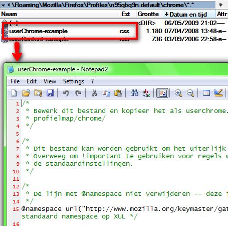 Open de Firefox Chrome-CSS met een eenvoudige teksteditor